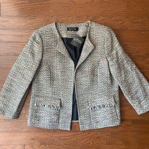 Kasper | Grey & Metallic Fringe Suit Jacket Sz 12